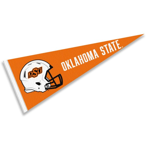 Oklahoma State Cowboys Helmet Pennant consists of our full size sports pennant which measures 12x30 inches, is constructed of felt, is single sided imprinted, and offers a pennant sleeve for insertion of a pennant stick, if desired. This Oklahoma State Cowboys Pennant Decorations is Officially Licensed by the selected university and the NCAA.