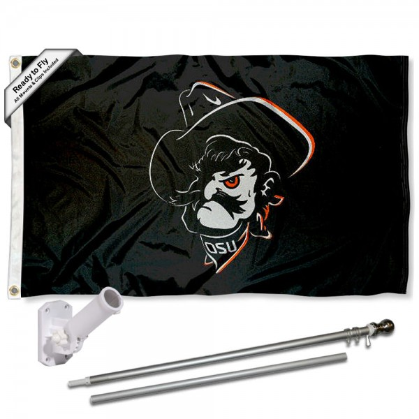 Our Oklahoma State Cowboys Pistol Pete Flag Pole and Bracket Kit includes the flag as shown and the recommended flagpole and flag bracket. The flag is made of polyester, has quad-stitched flyends, and the NCAA Licensed team logos are double sided screen printed. The flagpole and bracket are made of rust proof aluminum and includes all hardware so this kit is ready to install and fly.