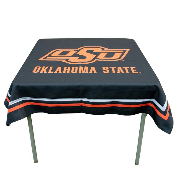 Oklahoma State Cowboys Table Cloth measures 48 x 48 inches, is made of 100% Polyester, seamless one-piece construction, and is perfect for any tailgating table, card table, or wedding table overlay. Each includes Officially Licensed Logos and Insignias.