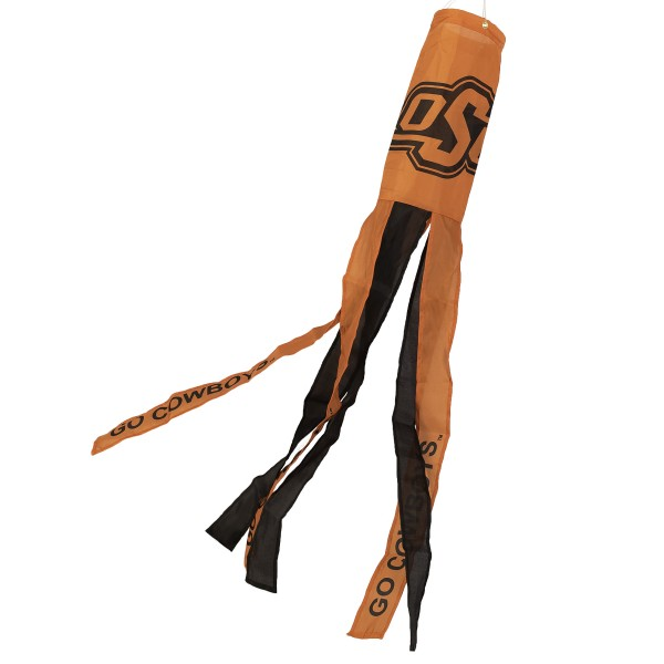 """Oklahoma State Cowboys Windsock measures 40"""" in length by 5"""" in width, is made of 100% polyester, offers screen printed NCAA team logos, team names and insignias, has 6 alternative colored streamers and tails, includes a double stringed bridle and hanging swivel clip, and our Oklahoma State Cowboys Windsock is authentic, licensed, and approved by the selected university or team."""