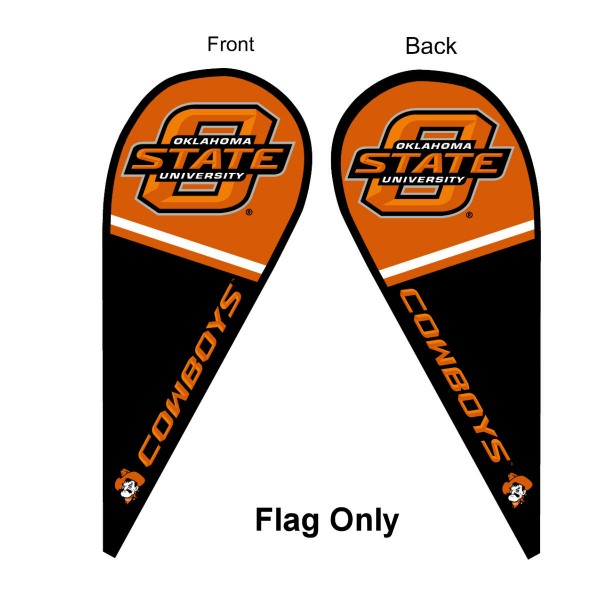 Oklahoma State University Feather Flag is 9 feet by 3 feet and is a tall 10' when fully assembled. The feather flag is made of thick polyester and is readable and viewable on both sides. The screen printed Oklahoma State Cowboys double sided logos are NCAA Officially Licensed and is Team and University approved.