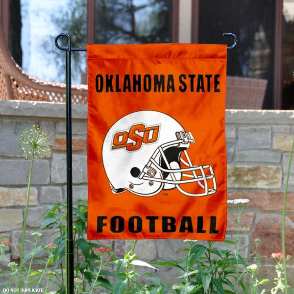 Oklahoma State University Football Helmet Garden Banner is 13x18 inches in size, is made of 2-layer polyester, screen printed OK State Cowboys athletic logos and lettering. Available with Same Day Express Shipping, Our Oklahoma State University Football Helmet Garden Banner is officially licensed and approved by OK State Cowboys and the NCAA.