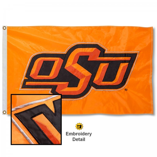 Oklahoma State University Nylon Embroidered Flag measures 3'x5', is made of 100% nylon, has quadruple flyends, two metal grommets, and has double sided appliqued and embroidered University logos. These Oklahoma State University 3x5 Flags are officially licensed by the selected university and the NCAA.