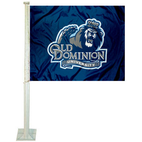 Old Dominion Car Flag measures 12x15 inches, is constructed of sturdy 2 ply polyester, and has dye sublimated school logos which are readable and viewable correctly on both sides. Old Dominion Car Flag is officially licensed by the NCAA and selected university