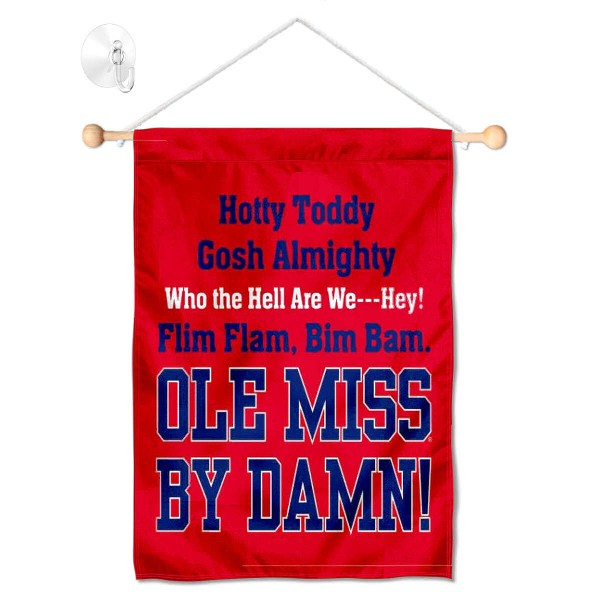 "Ole Miss Banner with Suction Cup kit includes our 13""x18"" garden banner which is made of 2 ply poly with liner and has screen printed licensed logos. Also, a 17"" wide banner pole with suction cup is included so your Ole Miss Banner with Suction Cup is ready to be displayed with no tools needed for setup. Fast Overnight Shipping is offered and the flag is Officially Licensed and Approved by the selected team."