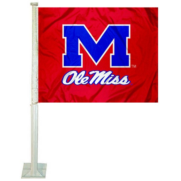 Ole Miss Car Window Flag measures 12x15 inches, is constructed of sturdy 2 ply polyester, and has screen printed school logos which are readable and viewable correctly on both sides. Ole Miss Car Window Flag is officially licensed by the NCAA and selected university.