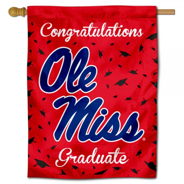 Mississippi Rebels Congratulations Graduate Flag measures 30x40 inches, is made of poly, has a top hanging sleeve, and offers dye sublimated Mississippi Rebels logos. This Decorative Mississippi Rebels Congratulations Graduate House Flag is officially licensed by the NCAA.