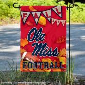 Ole Miss Fall Football Autumn Leaves Decorative Garden Flag