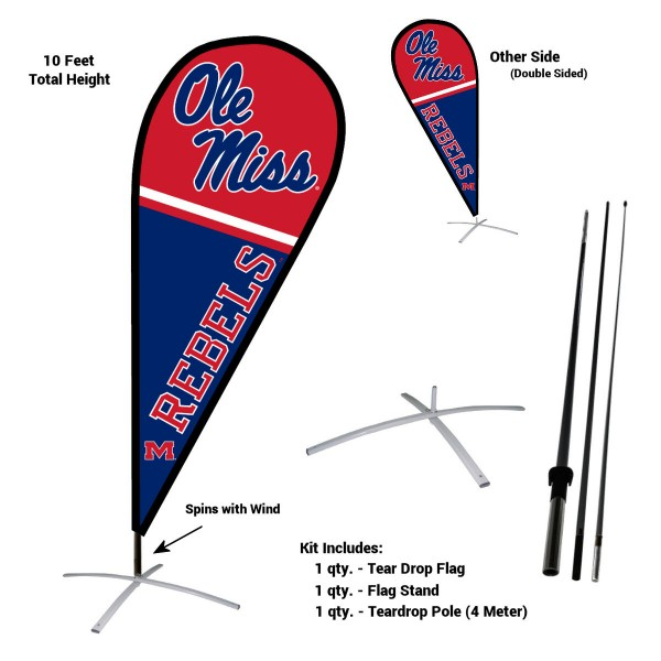 Mississippi Rebels Feather Flag Kit measures a tall 10' when fully assembled. The kit includes a Feather Flag, 3 Piece Fiberglass Pole, and matching Metal Feather Flag Stand. Our Mississippi Rebels Feather Flag Kit easily assembles and is NCAA Officially Licensed by the selected school or university.