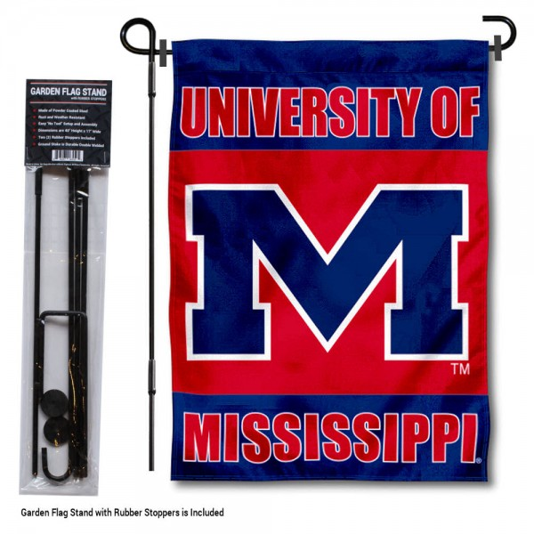 """Mississippi Rebels Garden Flag and Pole Stand kit includes our 13""""x18"""" garden banner which is made of 2 ply poly with liner and has screen printed licensed logos. Also, a 40""""x17"""" inch garden flag stand is included so your Mississippi Rebels Garden Flag and Pole Stand is ready to be displayed with no tools needed for setup. Fast Overnight Shipping is offered and the flag is Officially Licensed and Approved by the selected team."""