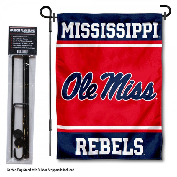 "Mississippi Rebels Garden Flag and Pole Stand Holder kit includes our 13""x18"" garden banner which is made of 2 ply poly with liner and has screen printed licensed logos. Also, a 40""x17"" inch garden flag stand is included so your Mississippi Rebels Garden Flag and Pole Stand Holder is ready to be displayed with no tools needed for setup. Fast Overnight Shipping is offered and the flag is Officially Licensed and Approved by the selected team."