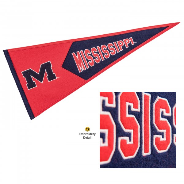 Ole Miss Genuine Wool Pennant consists of our full size 13x32 inch Winning Streak Sports wool college pennant. The logos, lettering and insignia is quality embroidered and appliqued, feature a alternate logo color header, and has sewn wool perimeter. This Ole Miss College Pennant Pennant is Officially Licensed and University Approved with Overnight Next Day Shipping.