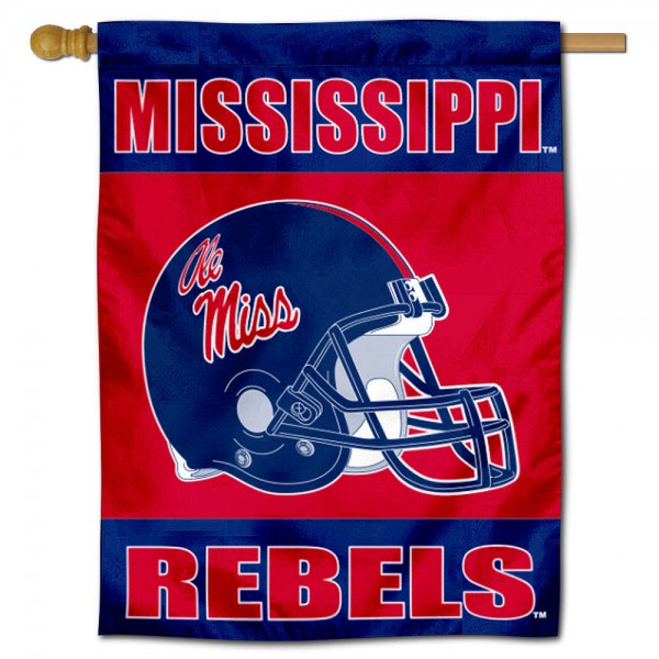 Ole Miss Helmet House Flag is a vertical house flag which measures 30x40 inches, is made of 2 ply 100% polyester, offers dye sublimated NCAA team insignias, and has a top pole sleeve to hang vertically. Our Ole Miss Helmet House Flag is officially licensed by the selected university and the NCAA.