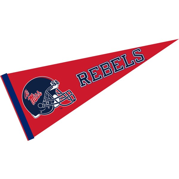 Mississippi Rebels Helmet Pennant consists of our full size sports pennant which measures 12x30 inches, is constructed of felt, is single sided imprinted, and offers a pennant sleeve for insertion of a pennant stick, if desired. This Mississippi Rebels Pennant Decorations is Officially Licensed by the selected university and the NCAA.