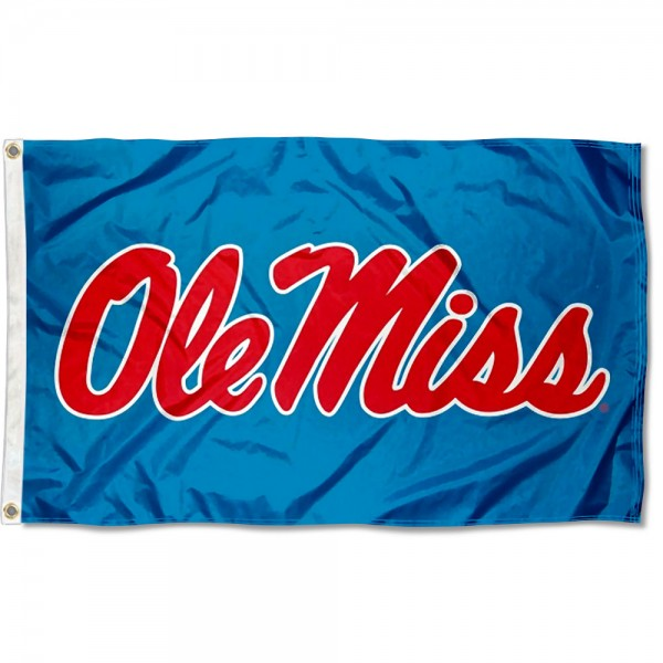 Ole Miss Powder Blue Flag measures 3x5 feet, is made of 100% polyester, offers quadruple stitched flyends, has two metal grommets, and offers screen printed NCAA team logos and insignias. Our Ole Miss Powder Blue Flag is officially licensed by the selected university and NCAA.