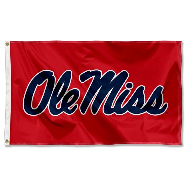 Ole Miss Rebels Red Flag measures 3'x5', is made of 100% poly, has quadruple stitched sewing, two metal grommets, and has double sided University of Mississippi logos. Our Ole Miss Rebels Red Flag is officially licensed by the selected university and the NCAA