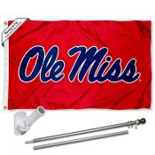 Ole Miss Red Flag Pole and Bracket Kit