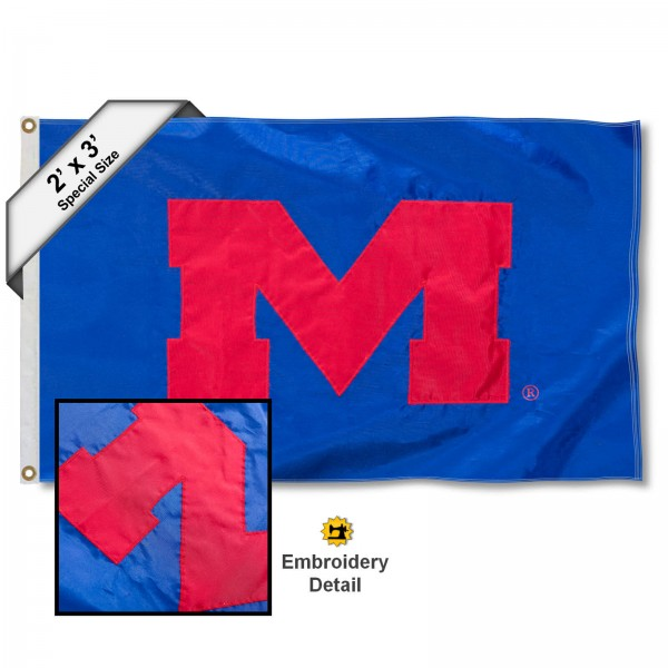 Ole Miss Small 2'x3' Flag measures 2x3 feet, is made of 100% nylon, offers quadruple stitched flyends, has two brass grommets, and offers embroidered Ole Miss logos, letters, and insignias. Our 2x3 foot flag is Officially Licensed by the selected university.