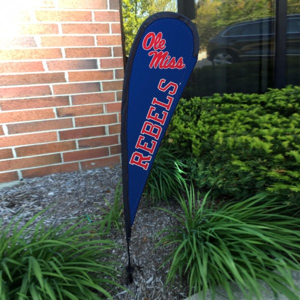 Ole Miss Small Feather Flag measures a 4' tall when fully assembled and roughly 1' wide. The kit includes a Feather Flag, 2 Piece Fiberglass Pole, pole connector, and matching Ground Stake. Our Ole Miss Small Feather Flag easily assembles and is NCAA Officially Licensed by the selected school or university.