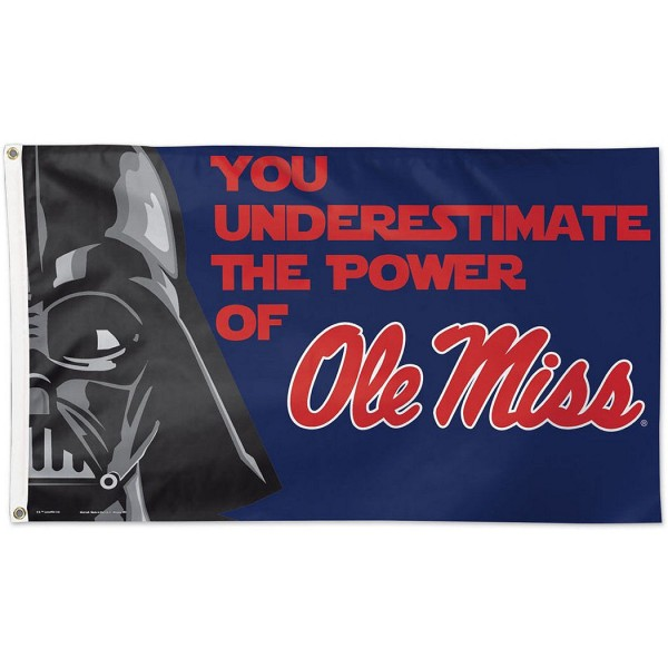 Ole Miss Rebels Star Wars Flag measures 3'x5', is made of 100% poly, has quadruple stitched sewing, two metal grommets, and has double sided Team University logos. Our Ole Miss Rebels Star Wars Flag is officially licensed by the selected university and the NCAA.