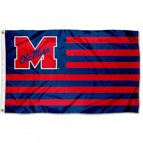 Ole Miss Striped Flag measures 3'x5', is made of polyester, offers quadruple stitched flyends for durability, has two metal grommets, and is viewable from both sides with a reverse image on the opposite side. Our Ole Miss Striped Flag is officially licensed by the selected school university and the NCAA.