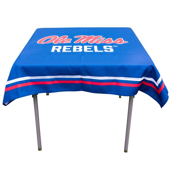 Mississippi Rebels Table Cloth measures 48 x 48 inches, is made of 100% Polyester, seamless one-piece construction, and is perfect for any tailgating table, card table, or wedding table overlay. Each includes Officially Licensed Logos and Insignias.