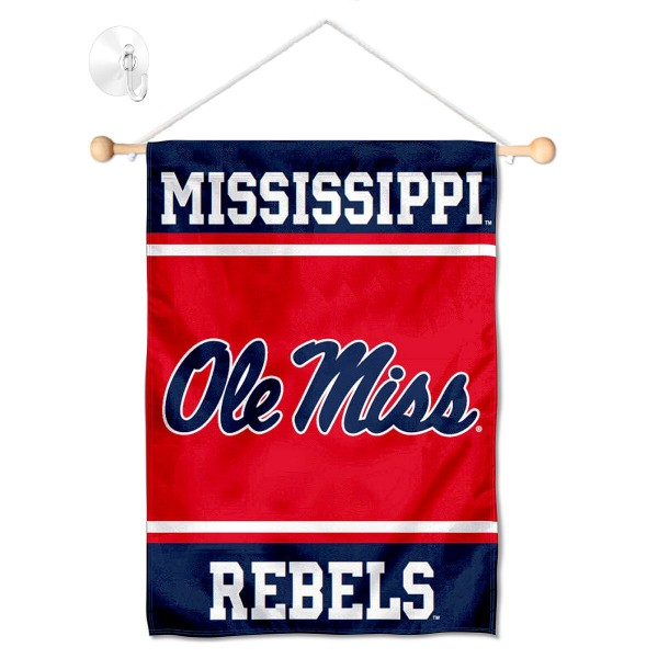 "Ole Miss Window and Wall Banner kit includes our 13""x18"" garden banner which is made of 2 ply poly with liner and has screen printed licensed logos. Also, a 17"" wide banner pole with suction cup is included so your Ole Miss Window and Wall Banner is ready to be displayed with no tools needed for setup. Fast Overnight Shipping is offered and the flag is Officially Licensed and Approved by the selected team."