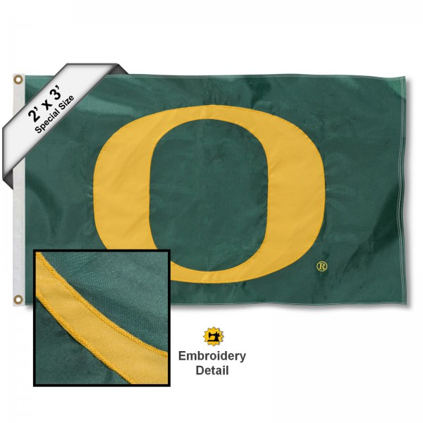 "Oregon Big ""O"" Small 2'x3' Flag measures 2x3 feet, is made of 100% nylon, offers quadruple stitched flyends, has two brass grommets, and offers embroidered Oregon Big ""O"" logos, letters, and insignias. Our Oregon Big ""O"" Small 2'x3' Flag is Officially Licensed by the selected university."