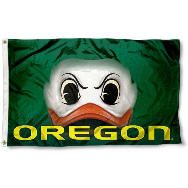 Oregon Duck Eye Flag measures 3'x5', is made of 100% poly, has quadruple stitched sewing, two metal grommets, and has double sided Team University logos. Our Oregon Ducks 3x5 Flag is officially licensed by the selected university and the NCAA.