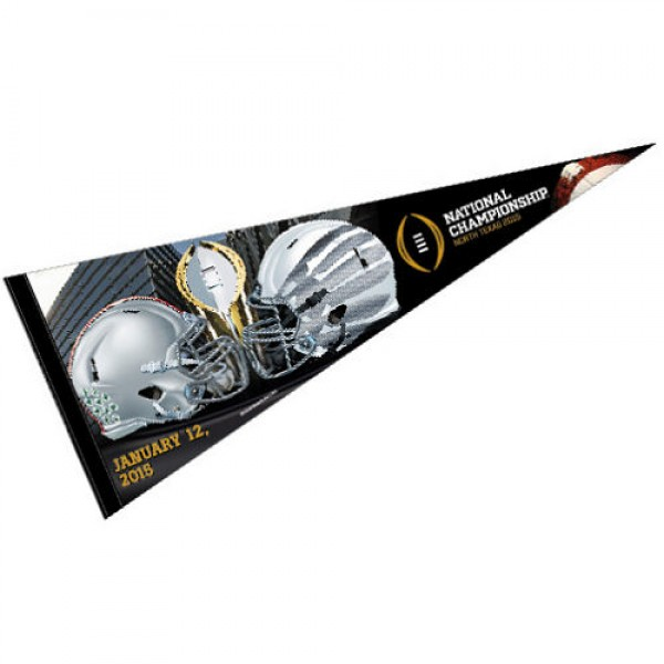 Oregon Ducks 2014 Dueling Championship Pennant is 12x30 inches, is made of wool and felt, has a pennant stick sleeve, and the logos are single sided screen printed. Our University of Oregon Ducks 2014 Dueling Championship Pennant is licensed by the NCAA and the University.