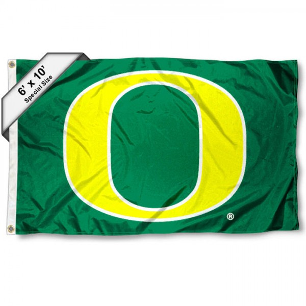Oregon Ducks 6'x10' Flag measures 6x10 feet, is made of thick poly, has quadruple-stitched fly ends, and Oregon Ducks logos are screen printed into the Oregon Ducks 6'x10' Flag. This Oregon Ducks 6'x10' Flag is officially licensed by and the NCAA.