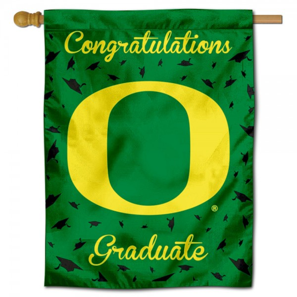 Oregon Ducks Congratulations Graduate Flag measures 30x40 inches, is made of poly, has a top hanging sleeve, and offers dye sublimated Oregon Ducks logos. This Decorative Oregon Ducks Congratulations Graduate House Flag is officially licensed by the NCAA.
