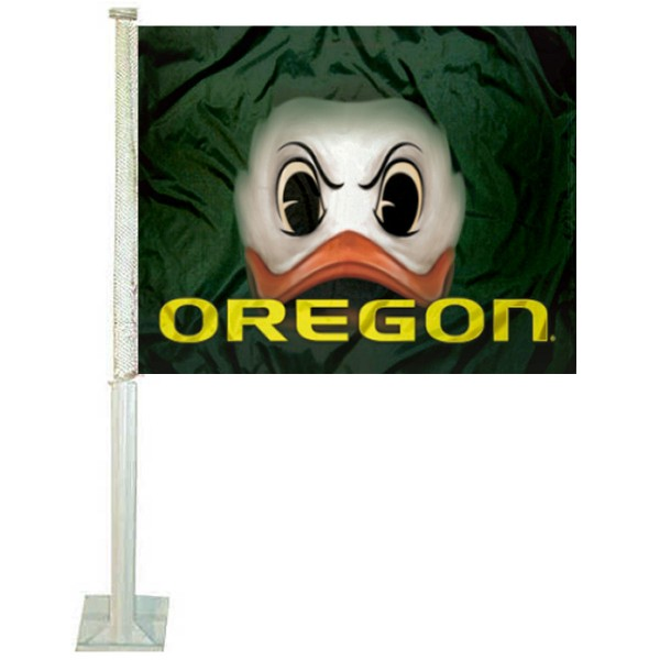 Oregon Ducks Fighting Duck Eyes Car Flag measures 12x15 inches, is constructed of sturdy 2 ply polyester, and has screen printed school logos which are readable and viewable correctly on both sides. Oregon Ducks Fighting Duck Eyes Car Flag is officially licensed by the NCAA and selected university.