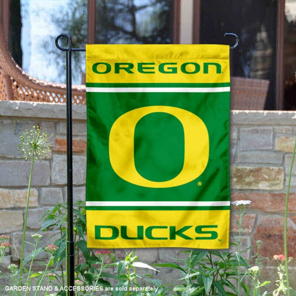 Oregon Ducks Garden Flag is 13x18 inches in size, is made of 2-layer polyester, screen printed logos and lettering. Available with Same Day Express Shipping, Our Oregon Ducks Garden Flag is officially licensed and approved by the NCAA.
