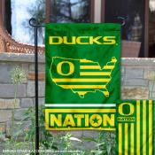 Oregon Ducks Garden Flag with USA Country Stars and Stripes
