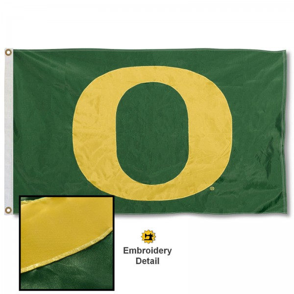 Oregon Ducks Nylon Embroidered Flag measures 3'x5', is made of 100% nylon, has quadruple flyends, two metal grommets, and has double sided appliqued and embroidered University logos. These Oregon Ducks 3x5 Flags are officially licensed by the selected university and the NCAA.