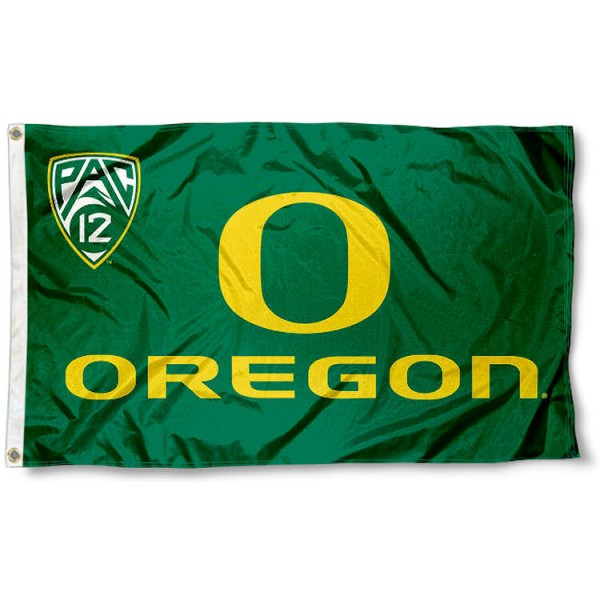 Oregon Ducks Pac 12 Logo Flag measures 3'x5', is made of 100% poly, has quadruple stitched sewing, two metal grommets, and has double sided Team University logos. Our Oregon Ducks Flags is officially licensed by the selected university and the NCAA.