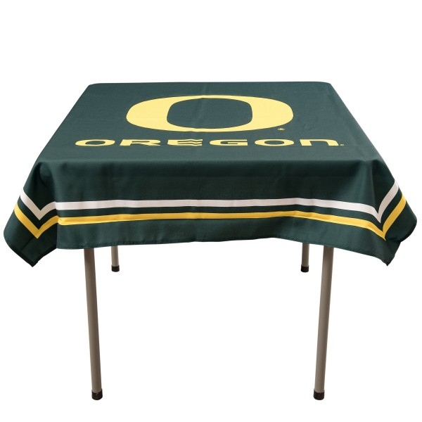 Oregon Ducks Table Cloth measures 48 x 48 inches, is made of 100% Polyester, seamless one-piece construction, and is perfect for any tailgating table, card table, or wedding table overlay. Each includes Officially Licensed Logos and Insignias.