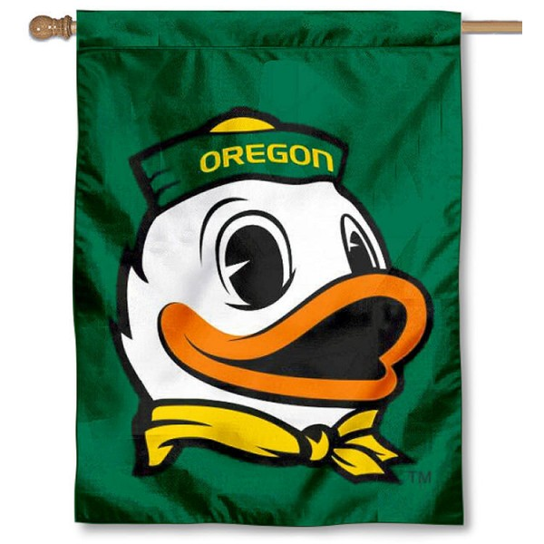 Oregon Ducks The Duck Logo Banner Flag is a vertical house flag which measures 30x40 inches, is made of 2 ply 100% polyester, offers dye sublimated NCAA team insignias, and has a top pole sleeve to hang vertically. Our Oregon Ducks The Duck Logo Banner Flag is officially licensed by the selected university and the NCAA.