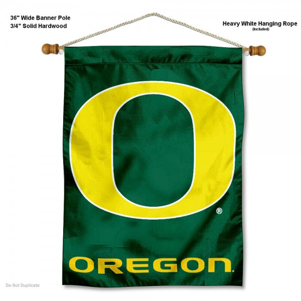 "Oregon Ducks Wall Banner is constructed of polyester material, measures a large 30""x40"", offers screen printed athletic logos, and includes a sturdy 3/4"" diameter and 36"" wide banner pole and hanging cord. Our Oregon Ducks Wall Banner is Officially Licensed by the selected college and NCAA."