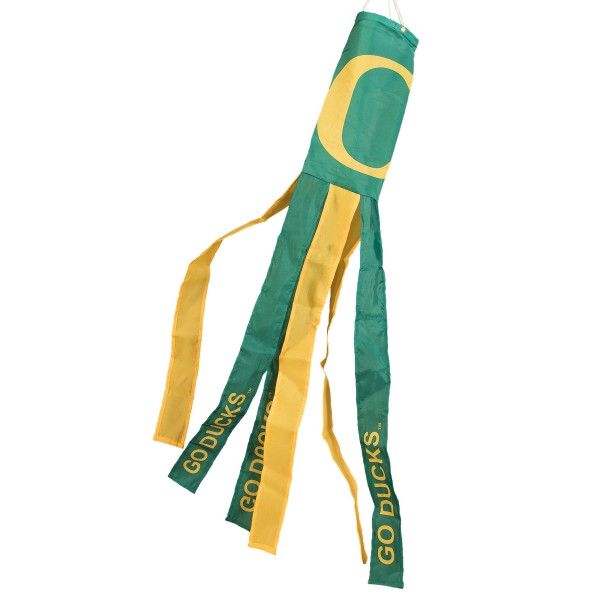 "Oregon Ducks Windsock measures 40"" in length by 5"" in width, is made of 100% polyester, offers screen printed NCAA team logos, team names and insignias, has 6 alternative colored streamers and tails, includes a double stringed bridle and hanging swivel clip, and our Oregon Ducks Windsock is authentic, licensed, and approved by the selected university or team."