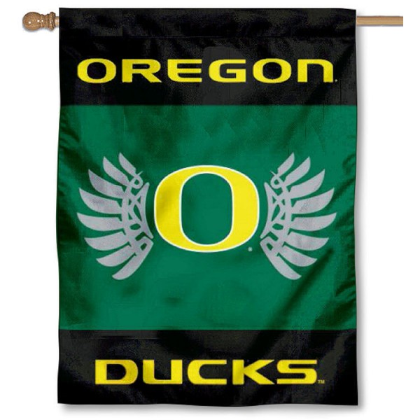 Oregon Ducks Wings Banner Flag is a vertical house flag which measures 30x40 inches, is made of 2 ply 100% polyester, offers dye sublimated NCAA team insignias, and has a top pole sleeve to hang vertically. Our Oregon Ducks Wings Banner Flag is officially licensed by the selected university and the NCAA.