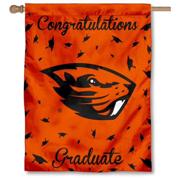 Oregon State Beavers Congratulations Graduate Flag measures 30x40 inches, is made of poly, has a top hanging sleeve, and offers dye sublimated Oregon State Beavers logos. This Decorative Oregon State Beavers Congratulations Graduate House Flag is officially licensed by the NCAA.