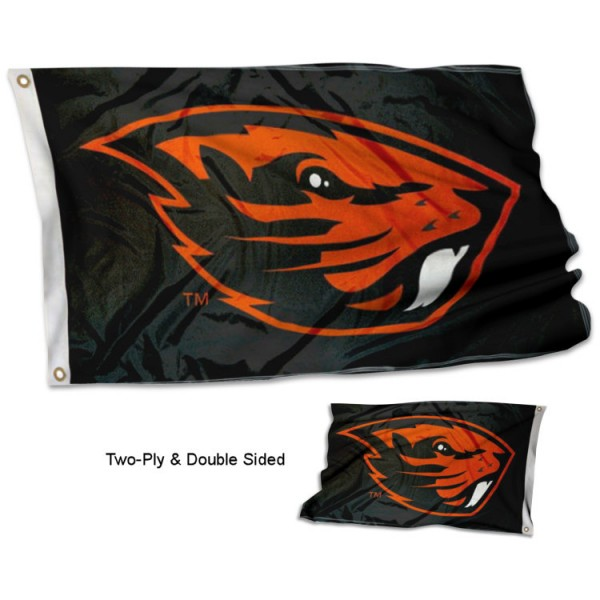 Oregon State Beavers Double Sided Flag measures 3'x5', is made of 2 layer 100% polyester, has quadruple stitched flyends for durability, and is readable correctly on both sides. Our Oregon State Beavers Double Sided Flag is officially licensed by the university, school, and the NCAA.