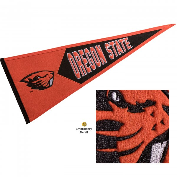 Oregon State Beavers Genuine Wool Pennant consists of our full size 13x32 inch Winning Streak Sports wool college pennant. The logos, lettering and insignia is quality embroidered and appliqued, feature a alternate logo color header, and has sewn wool perimeter. This Oregon State Beavers College Pennant Pennant is Officially Licensed and University Approved with Overnight Next Day Shipping.