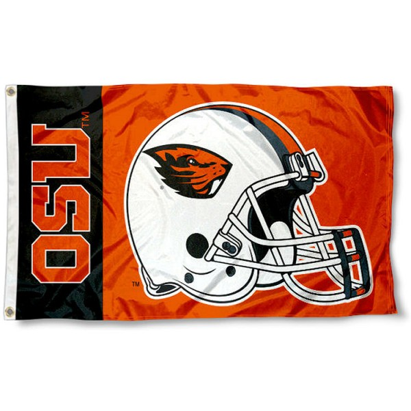 Oregon State Beavers Helmet Flag measures 3'x5', is made of 100% poly, has quadruple stitched sewing, two metal grommets, and has double sided Oregon State Beavers logos. Our Oregon State Beavers Helmet Flag is officially licensed by the selected university and the NCAA.