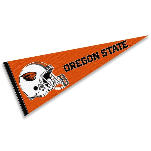 Oregon State Beavers Helmet Pennant consists of our full size sports pennant which measures 12x30 inches, is constructed of felt, is single sided imprinted, and offers a pennant sleeve for insertion of a pennant stick, if desired. This Oregon State Beavers Pennant Decorations is Officially Licensed by the selected university and the NCAA.