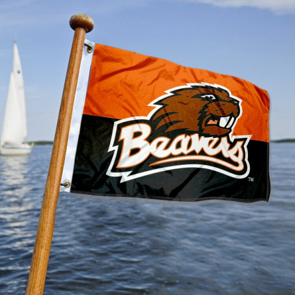 Oregon State Beavers Nautical Flag measures 12x18 inches, is made of two-ply polyesters, offers quadruple stitched flyends for durability, has two metal grommets, and is viewable from both sides. Our Oregon State Beavers Nautical Flag is officially licensed by the selected university and the NCAA and can be used as a motorcycle flag, golf cart flag, or ATV flag