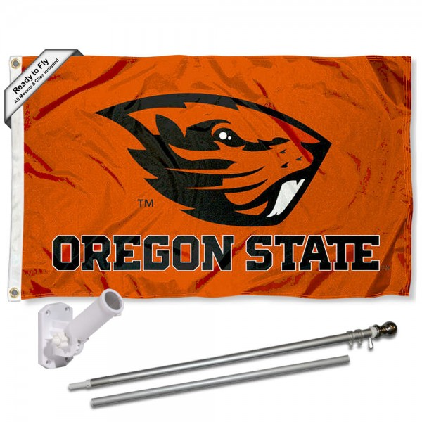 Our Oregon State Beavers Orange Flag Pole and Bracket Kit includes the flag as shown and the recommended flagpole and flag bracket. The flag is made of polyester, has quad-stitched flyends, and the NCAA Licensed team logos are double sided screen printed. The flagpole and bracket are made of rust proof aluminum and includes all hardware so this kit is ready to install and fly.
