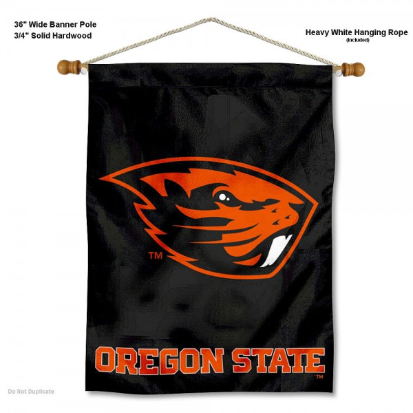 """Oregon State Beavers Wall Banner is constructed of polyester material, measures a large 30""""x40"""", offers screen printed athletic logos, and includes a sturdy 3/4"""" diameter and 36"""" wide banner pole and hanging cord. Our Oregon State Beavers Wall Banner is Officially Licensed by the selected college and NCAA."""
